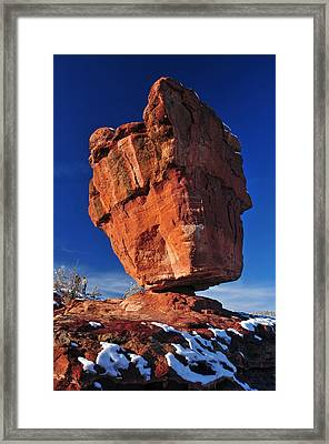 Balanced Rock At Garden Of The Gods With Snow Framed Print