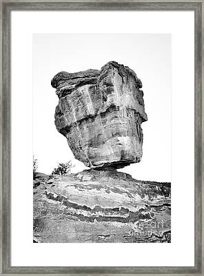 Balanced Rock In Black And White Framed Print