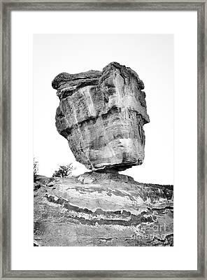 Balanced Rock In Black And White Framed Print