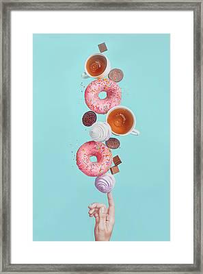 Balancing Donuts Framed Print by Dina Belenko Photography