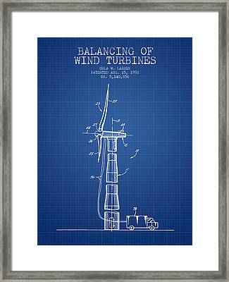 Balancing Of Wind Turbines Patent From 1992 - Blueprint Framed Print