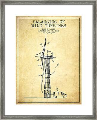 Balancing Of Wind Turbines Patent From 1992 - Vintage Framed Print