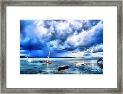 Balaton Lake View Framed Print by Odon Czintos