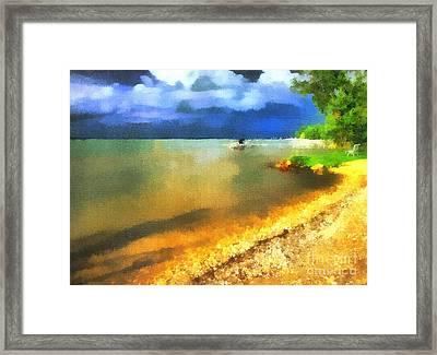 Balaton Shore Framed Print by Odon Czintos