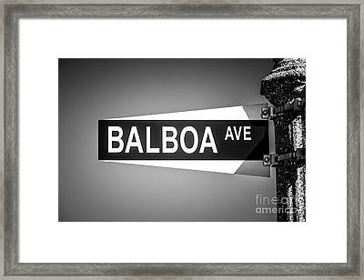 Balboa Avenue Street Sign Black And White Picture Framed Print by Paul Velgos