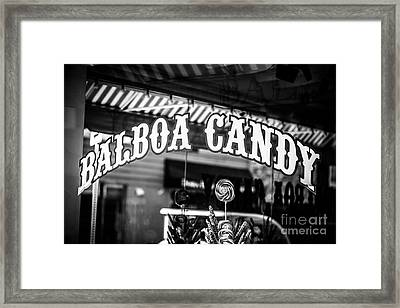 Balboa Candy Sign On Balboa Island Newport Beach Framed Print by Paul Velgos