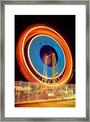 Balboa Fun Zone Ferris Wheel At Night Picture Framed Print by Paul Velgos