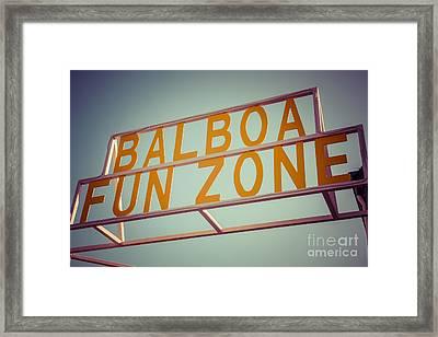 Balboa Fun Zone Sign Newport Beach Vintage Photo Framed Print