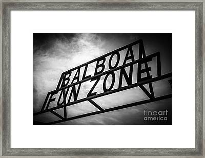 Balboa Fun Zone Sign Picture Newport Beach Framed Print