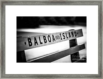 Balboa Island Bench In Newport Beach California Framed Print by Paul Velgos