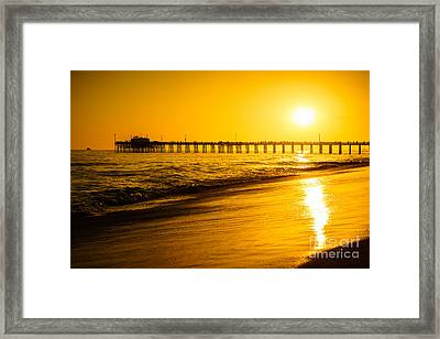 Balboa Pier Sunset In Orange County California Picture Framed Print by Paul Velgos
