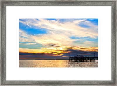Balboa Pier Sunset Landscape Hdr Framed Print by Chris Brannen