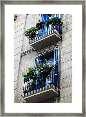 Balconies In Bloom Framed Print by Menachem Ganon