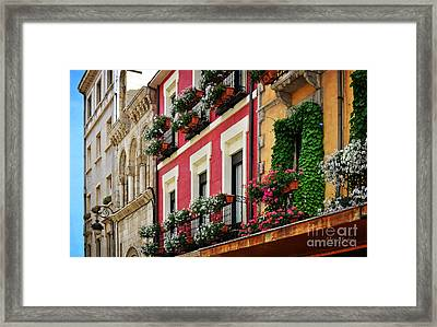 Balconies Of Leon Framed Print by Mary Machare
