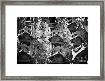 balconies on casa batllo modernisme style building in Barcelona Catalonia Spain Framed Print by Joe Fox