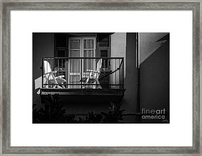 Balcony Bathed In Sunlight Framed Print