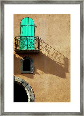 Balcony In A Collioure Street, Fishing Framed Print by Panoramic Images