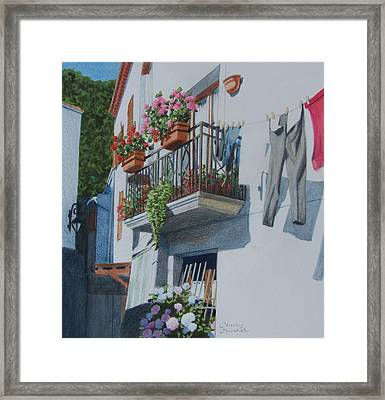 Balcony In Maratea Framed Print by Constance DRESCHER