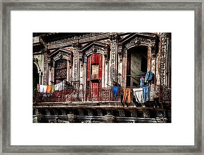 Balcony In Old Havana  Framed Print
