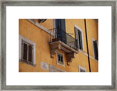 Framed Print featuring the photograph Balcony Piazza Della Madallena In Roma by Dany Lison