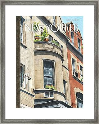 Balcony Scene Framed Print by Harry Bliss