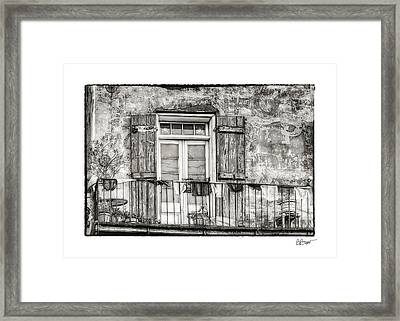 Balcony View In Black And White Framed Print by Brenda Bryant