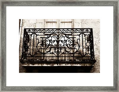 Balcony Window In South West France - Toned Framed Print