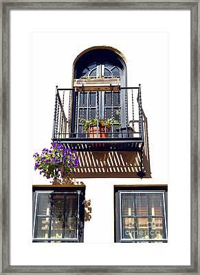 Balcony With Flower Framed Print by Bener Kavukcuoglu