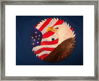 Bald Eagle And American Flag Framed Print