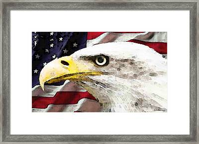 Bald Eagle Art - Old Glory - American Flag Framed Print