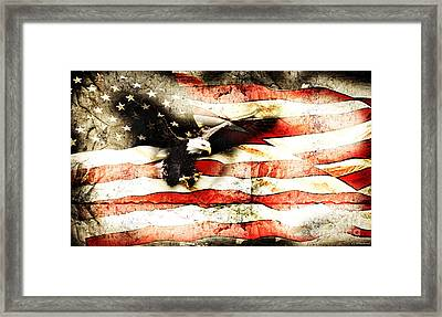 Bald Eagle Bursting Thru Flag Framed Print