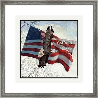 Bald Eagle  God Bless America Framed Print by Debbie Portwood