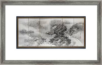 Bald Eagle On A Rock On The Coast, Kishi Ryo Framed Print by Litz Collection
