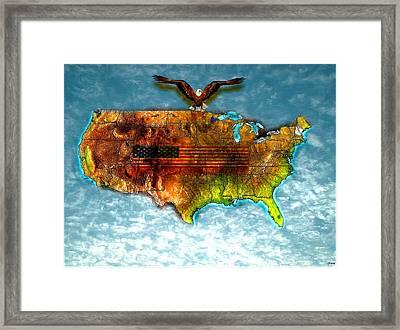 Bald Eagle U.s. Map Framed Print by Daniel Janda