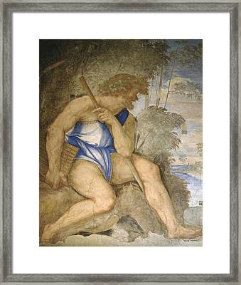 Baldassare Peruzzi 1481-1536. Italian Architect And Painter. Villa Farnesina. Polyphemus. Rome Framed Print by Baldassarre Peruzzi