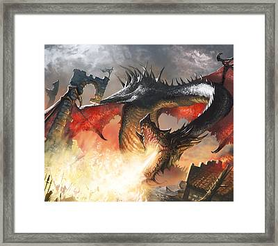 Balerion The Black Framed Print by Ryan Barger