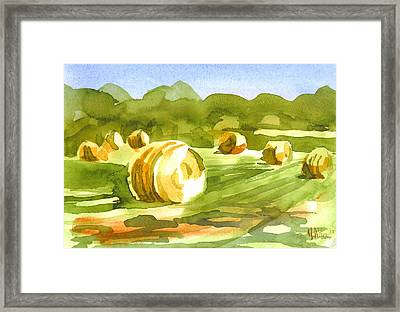 Bales In The Morning Sun Framed Print by Kip DeVore