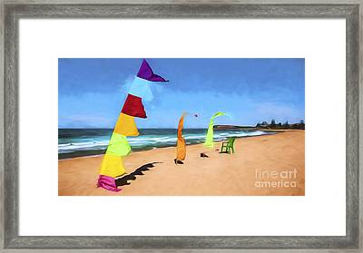Bali Flags On Collaroy Beach Framed Print by Avalon Fine Art Photography