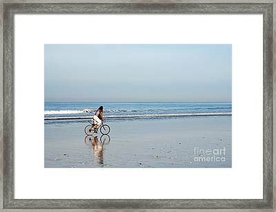 Bali Kuta Beach Cyclist Framed Print by Rick Piper Photography