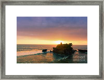 Bali Tanah Lot Temple At Sunset Framed Print by Fototrav Print