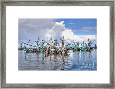 Balinese Fishing Boats Framed Print by Louise Heusinkveld