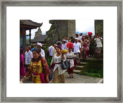 Balinese Leaving Beratan Temple Bali Framed Print