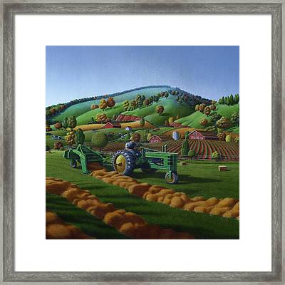 Baling Hay Field - John Deere Tractor - Farm Country Landscape Square Format Framed Print