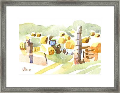 Baling Hay In The Abstract Framed Print by Kip DeVore