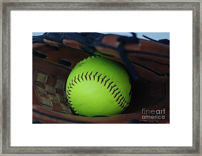 Ball And Glove Framed Print by Mark McReynolds