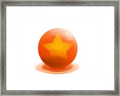 orange Ball decorated with star white background Framed Print by R Muirhead Art