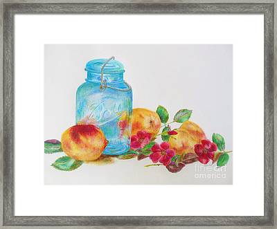 Ball Jar And Peaches Framed Print by Jackie Hill