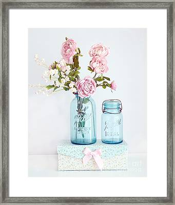 Roses In Ball Jars Aqua Dreamy Shabby Chic Floral Cottage Chic Pink Roses In Vintage Blue Ball Jars  Framed Print by Kathy Fornal