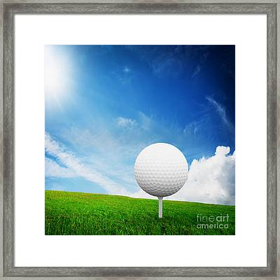 Ball On Tee On Green Golf Field Framed Print by Michal Bednarek