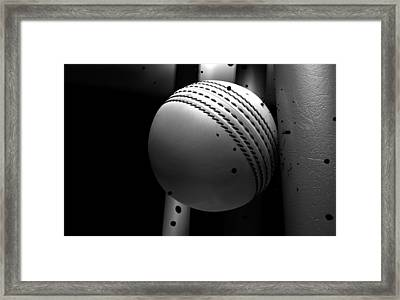 Ball Striking Stumps Framed Print by Allan Swart